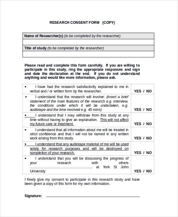 Template For Consent Form | Nursing Resume Objective Statement
