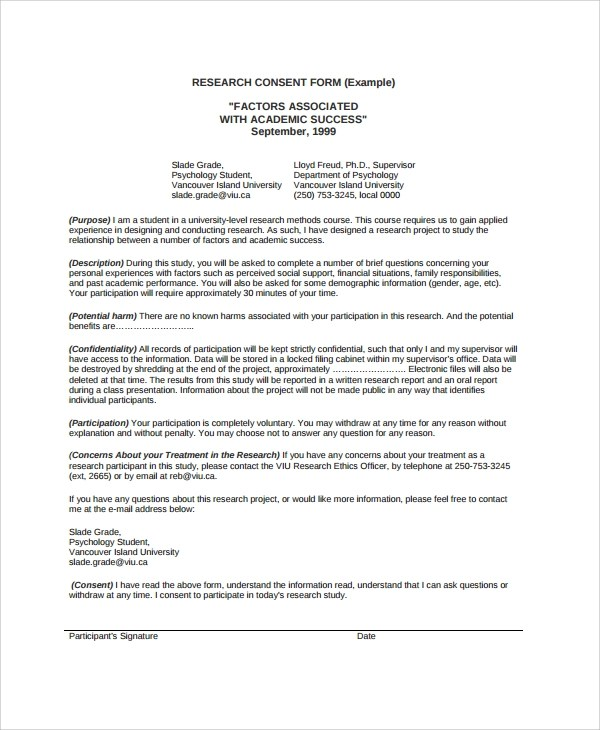 Sample Research Consent Form - 8+ Free Documents Download in PDF, Word - research consent form template