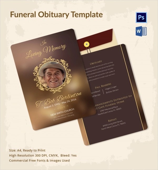 Sample Funeral Obituary Template - 11+ Documents in PDF, PSD, WORD - funeral obituary template