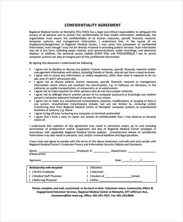 Staff Confidentiality Agreements - Resume Template Sample