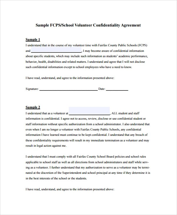 8+ Sample Staff Confidentiality Agreements Sample Templates