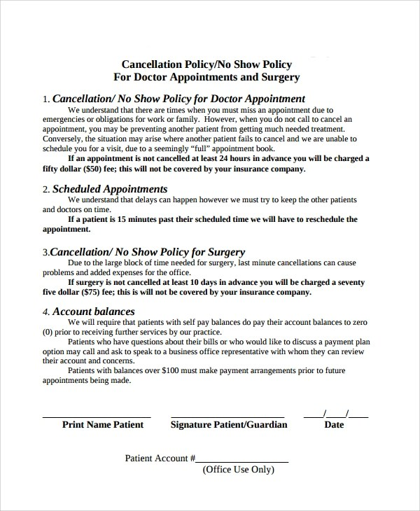 Cancellation policy template for Refund cancellation policy template