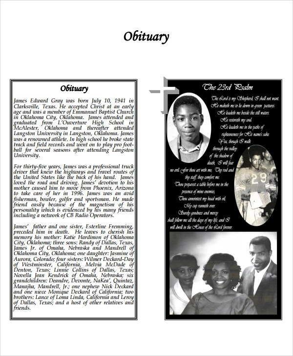 Sample Obituary Program Templates -7+ Free Documents Download in PDF