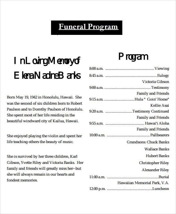 8+ Obituary Program Templates Sample Templates - sample program templates