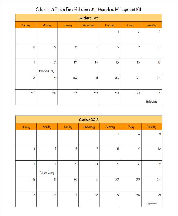halloween calendar templates - Kubrakubkireklamowe