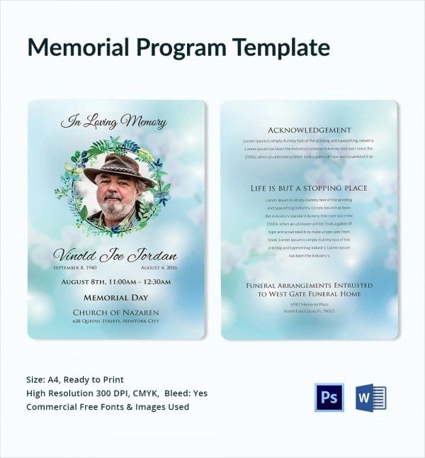 ... 11+ Sample Memorial Program Template   Free Sample, Example, Format   Memorial  Program ...