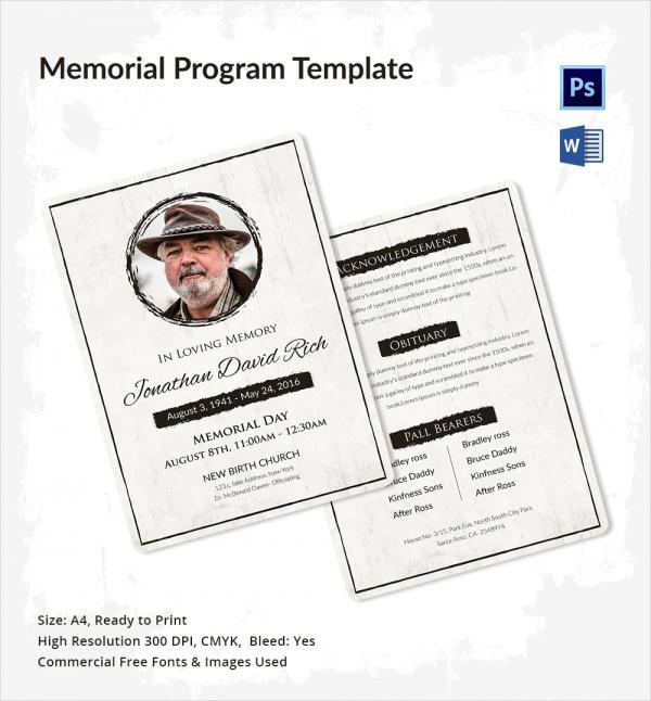 Memorial Program Funeral Program Template Funeral Programs Obituary
