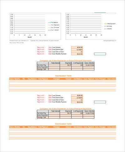 8+ Loan Amortization Calculator Templates | Sample Templates