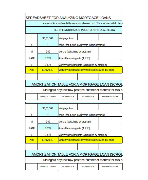 Sample Loan Amortization Calculator Template - 7+ Documents - mortgage amortization calculator