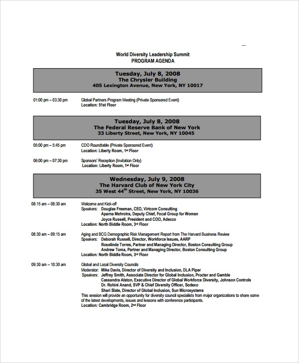 8+ Sample Event Agenda Templates Sample Templates