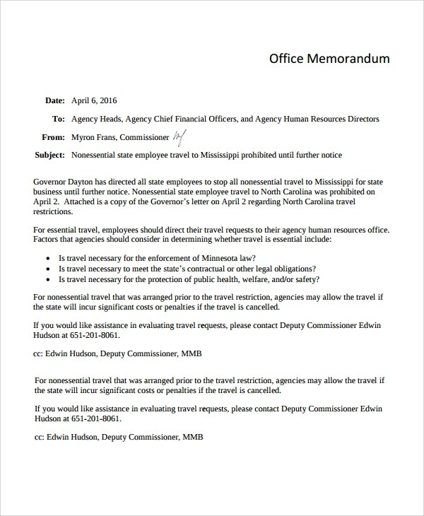 Sample Office Memo Template - 12+ Free Documents Download in PDF, Word