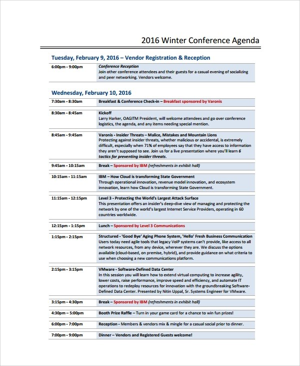 Sample Conference Agenda - 7+ Documents in PDF, Word