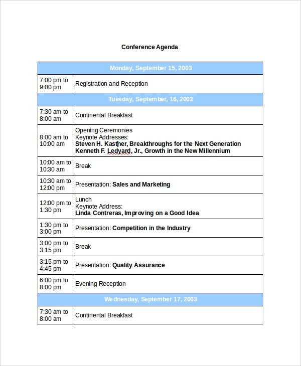 8+ Sample Conference Agenda Templates Sample Templates - conference schedule template