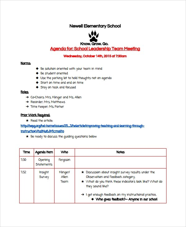 Sample School Agenda - 7+ Documents In PDF, Wordscrum meeting agenda