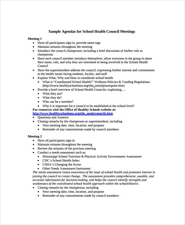 Sample School Agenda - 7+ Documents in PDF, Word