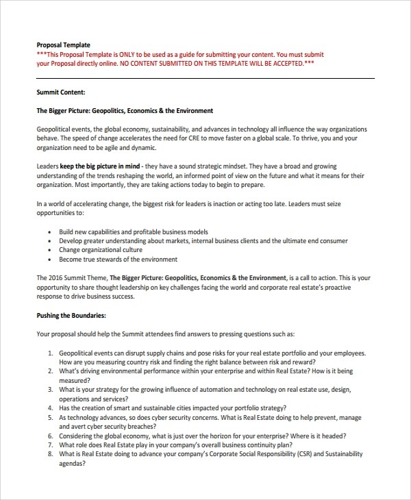 Sample Business Proposal For Funding – Real Estate Proposal Template
