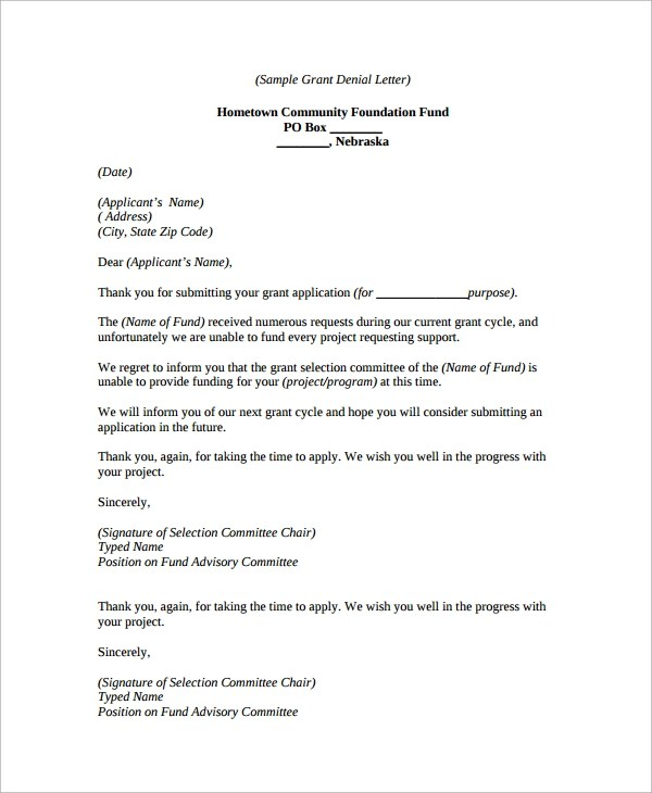 9+ Denial Letters Sample Templates