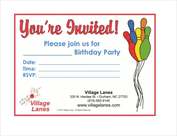 Sample Bowling Invitation Template - 9+ Free Documents Download in