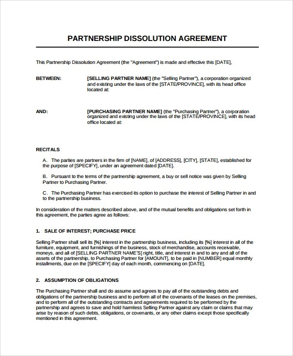 8+ Partnership Dissolution Agreement Templates Sample Templates