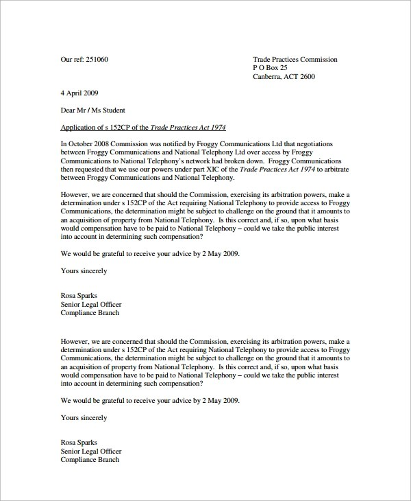 Sample Legal Statement Letter Sample Letters Sample Advice Letter 9 Free Documents Download In Word Pdf