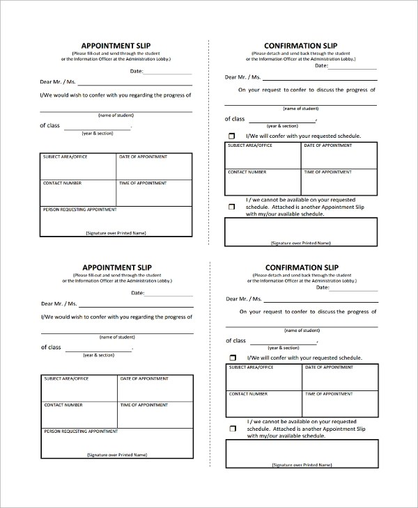 Sample Appointment Slip Template - 7+ Free Documents Download in PDF