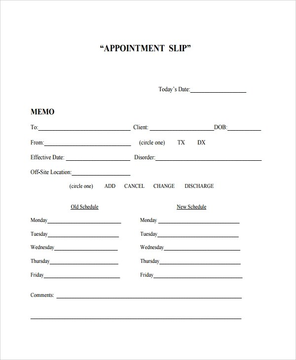 Sample Appointment Card Template Sample Appointment Card Pdf - sample appointment card template