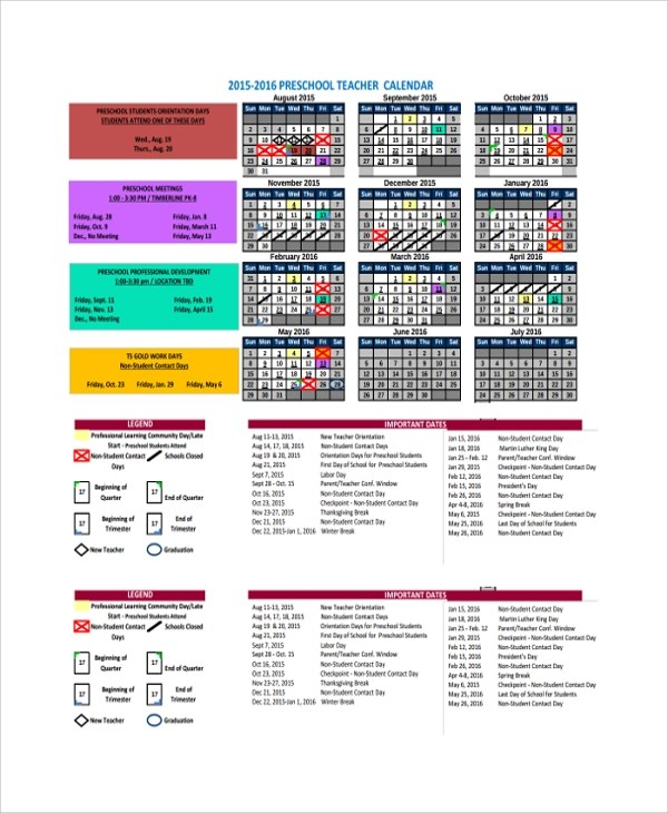 Sample Teacher Calendar Template - 9+ Free Documents Download in PDF