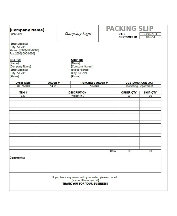 7+ Shipping Slip Templates Sample Templates