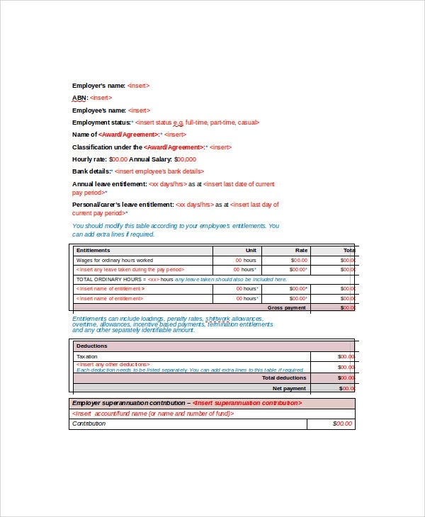 Sample Wage Slip Template   8+ Free Documents Download In Word, PDF   Free