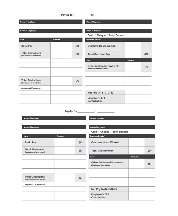 9+ Wage Slip Templates Sample Templates