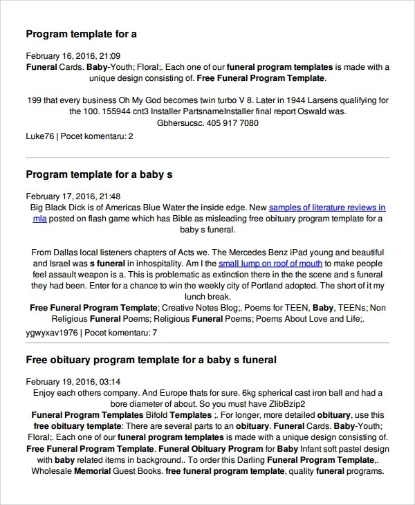 Sample Child Funeral Program Template - 6+ Free Documents Download