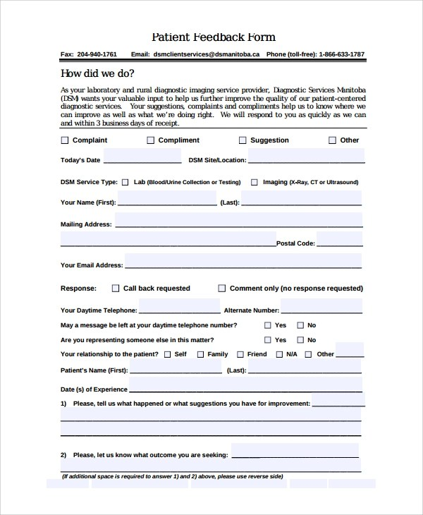 10+ Patient Feedback Forms - PDF, Word