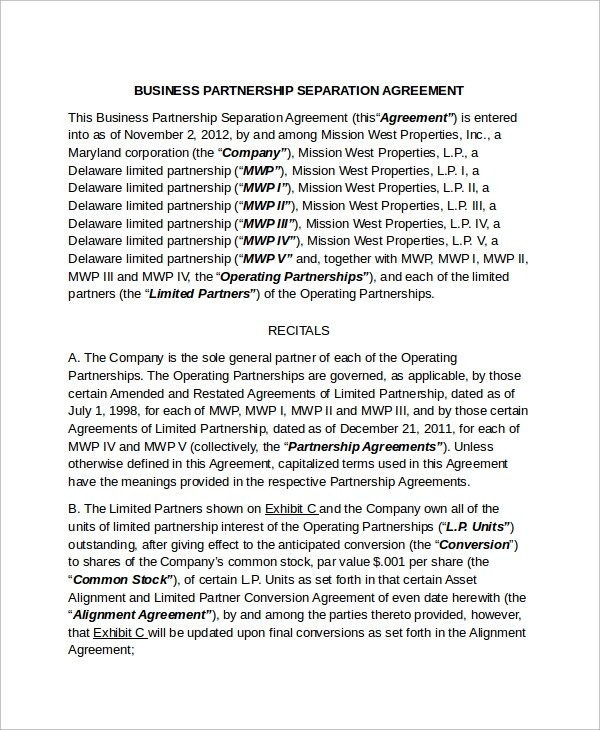 business separation agreement template - 28 images - sle employment - business separation agreement template