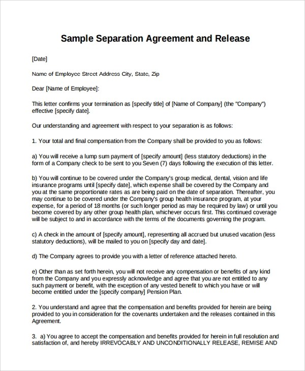 9+ Business Separation Agreement Templates Sample Templates - business separation agreement