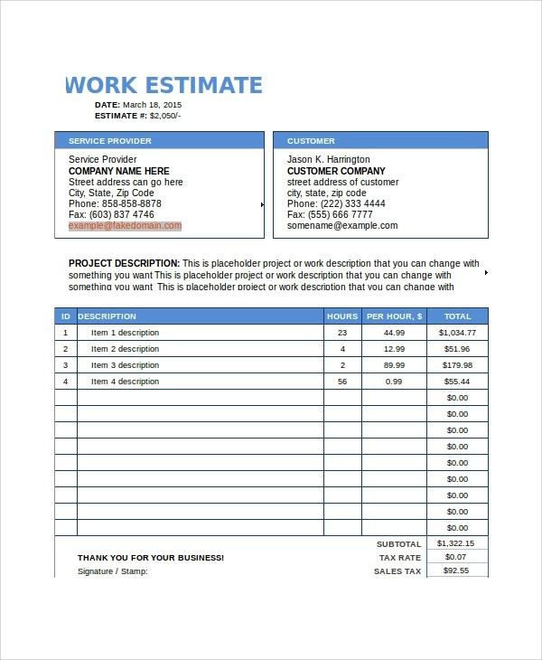 Project Estimation Template Doc  Resume Writing Exercises