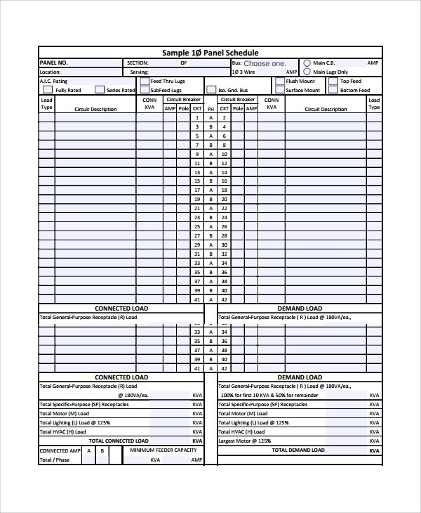 8+ Panel Schedule Templates Sample Templates - panel schedule template
