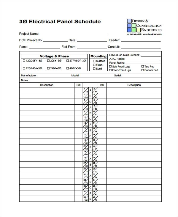 blank electrical panel schedule