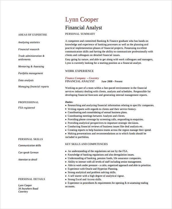 cv template finance analyst