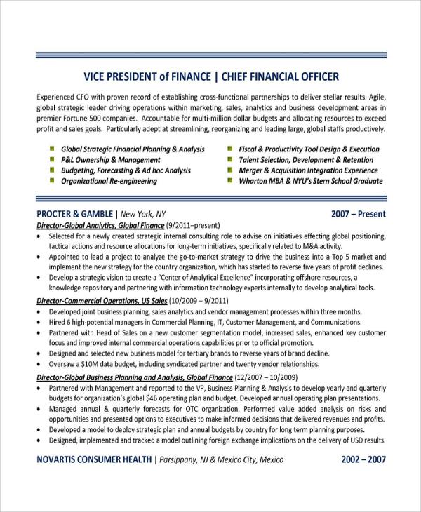 resume for finance background
