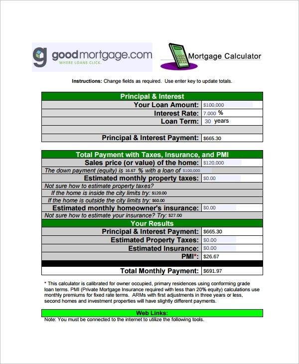 Sample Mortgage Payment Calculator Template - Free Documents - mortgage payment calculator template