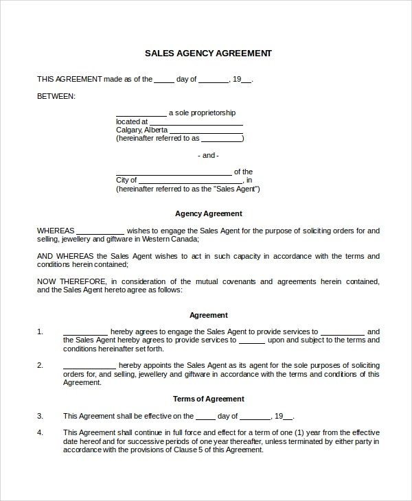 8+ Sales Agency Agreement Templates Sample Templates - sample sales agreement