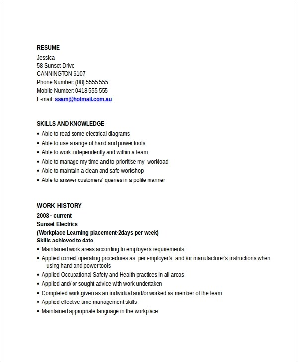 Sample Electrician Resume Template - 7+ Free Documents Download in