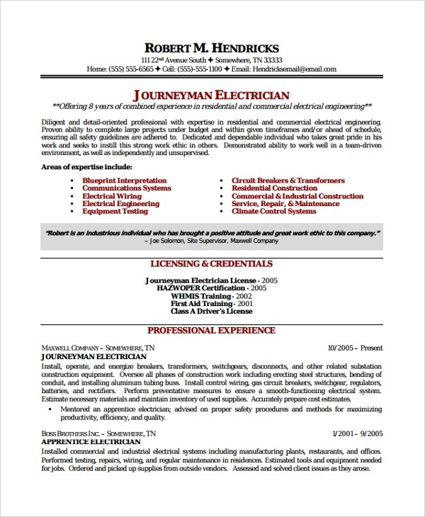 Electrician Resume Resume Example Journeyman Electrician Resume