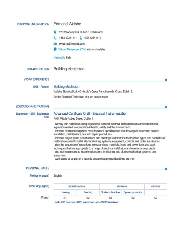 8+ Electrician Resume Templates Sample Templates - master electrician resume