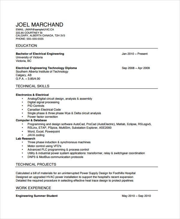 resume format download electrical engineering