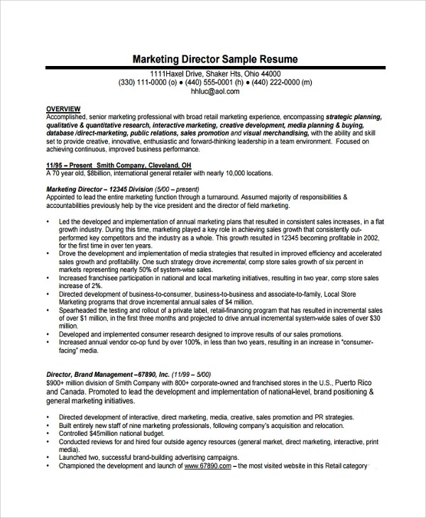 8+ Director of Operations Resumes Sample Templates - sample resume director