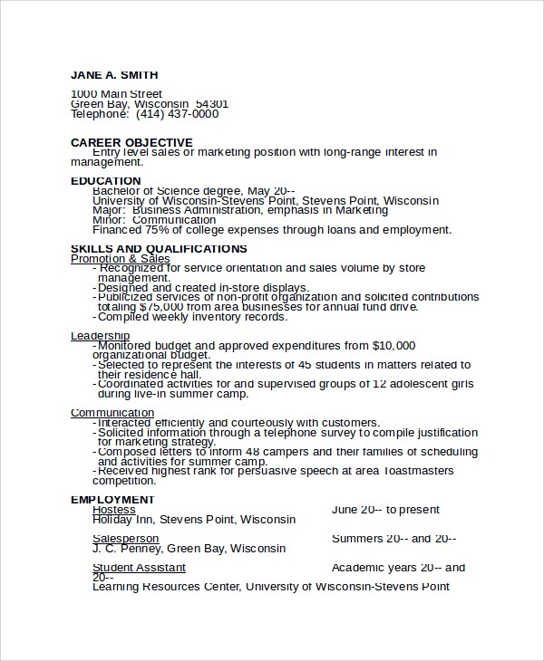 Sample Camp Counselor Resume Templates - 6+ Free Documents Download