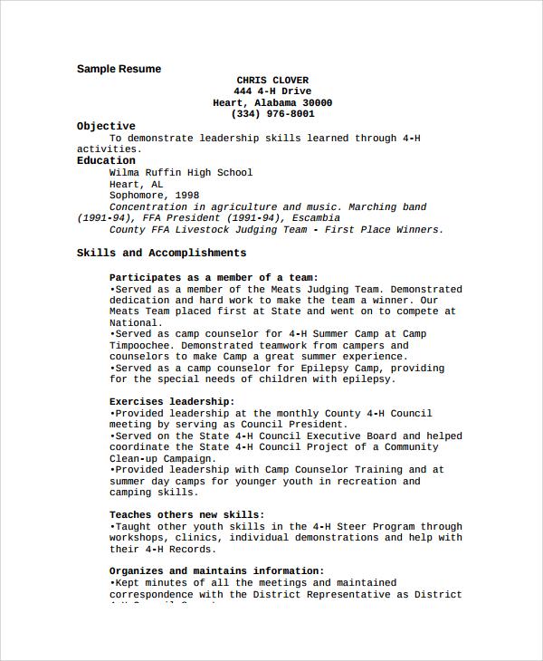 resume description of camp counselor