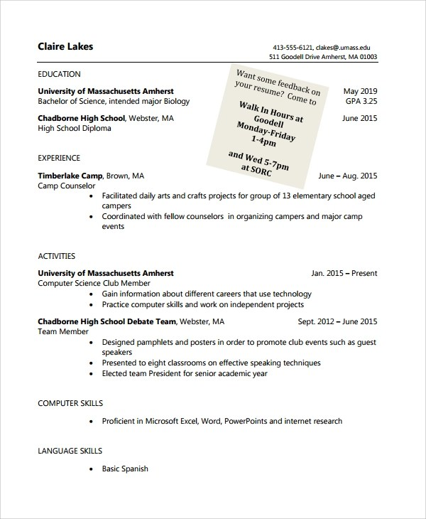 Blank Resume Template For High School Students Http Www Resumecareer Blank  Resume Template For High School  Resume For A High School Student