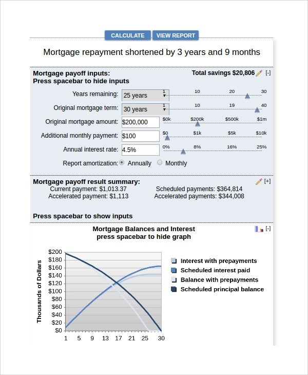 Sample Mortgage Payoff Calculator - 7+ Free Documents Download in PDF - bank rate mortgage calculator